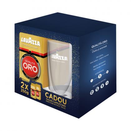 Pachet Lavazza Qualita Oro, 2x250 gr. + pahar cappuccino CADOU